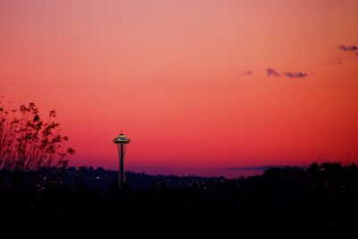 Seattle Space Needle tower at sunset