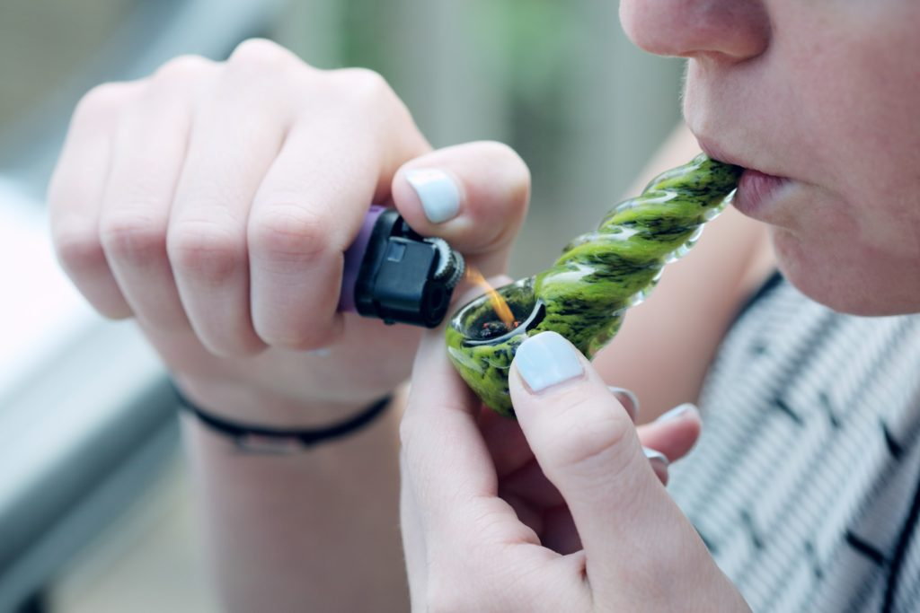 green glass pipe for marijuana